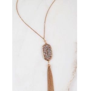 Jewelry - Long Gold Sparkling Pendant Tassel Necklace